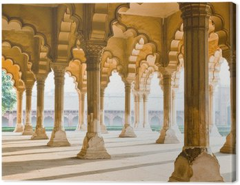 Canvas Print Beautiful gallery of pillars at Agra Fort. Agra, India