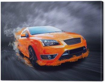 Canvas Print Beautiful orange sport car in fire