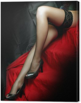 Canvas Print Beautiful slim legs in black nylons on a red background.