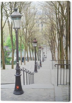 Canvas Print Beautiful starway in Montmartre in Paris at springtime