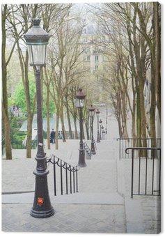 Beautiful starway in Montmartre in Paris at springtime