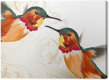Beautiful vector humming birds with ornament Canvas Print