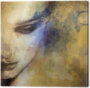 Beautiful woman face. watercolor illustration Canvas Print
