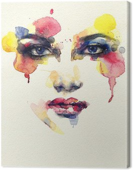 Canvas Print Beautiful woman face. watercolor illustration