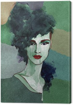 Canvas Print Beautiful woman. watercolor illustration