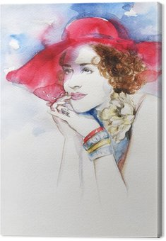 Beautiful woman . watercolor illustration