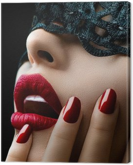 Beautiful Woman with Black Lace mask over her Eyes Canvas Print