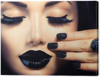 Beauty Fashion Girl with Trendy Caviar Black Manicure and Makeup Canvas Print