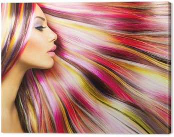 Canvas Print Beauty Fashion Model Girl with Colorful Dyed Hair