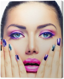 Canvas Print Beauty Makeup. Purple Make-up and Colorful Bright Nails