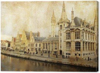 Canvas Print Belgium - Gent - picture in retro style