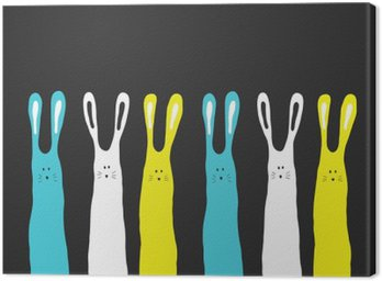 Canvas Print Big colors rabbits background, vector illustration