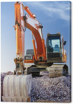 Big excavator on new construction