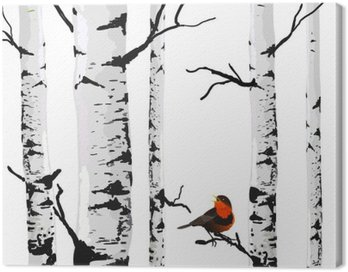 Canvas Print Bird of birches, vector drawing with editable elements.