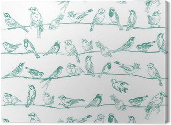 Birds Seamless Background - for design and scrapbook - in vector Canvas Print