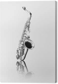 Black and white alto saxophone woodwind instrument