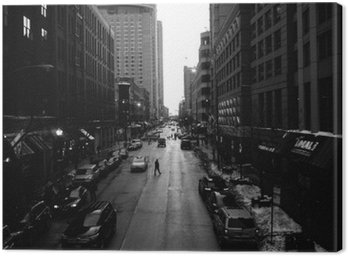 Canvas Print Black and White Chicago Streets