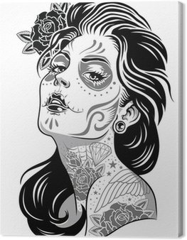 Canvas Print Black and White Day of Dead Girl Vector Illustration