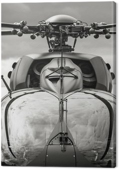 Canvas Print black and white military helicopter cockpit closeup