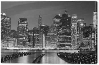 Black and white photo of Manhattan waterfront, NYC, USA.