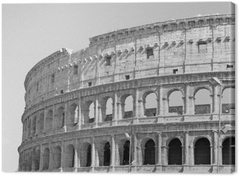 Canvas Print Black and white photo of the great Colosseum in Rome in retro style