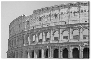 Black and white photo of the great Colosseum in Rome in retro style