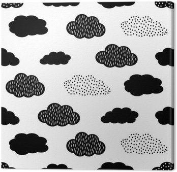 Black and white seamless pattern with clouds. Cute baby shower vector background. Child drawing style illustration. Canvas Print