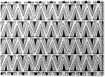 Canvas Print Black and white seamless pattern with triangles.