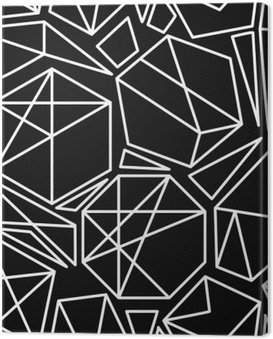 Canvas Print Black and white vector geometric seamless pattern