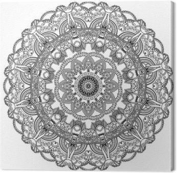 Black lace circle on white background. Ornamental mandala