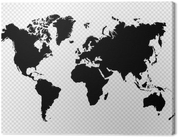 Canvas Print Black silhouette isolated World map EPS10 vector file.