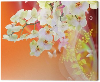Canvas Print Bloom Spring beautiful Japanese Exotic Flowers.Floral Card