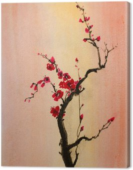 Canvas Print blooming branch of cherry