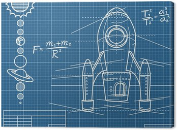 blueprint with spaceship and planets