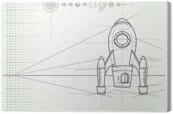 Canvas Print blueprint with spaceship scheme and planets