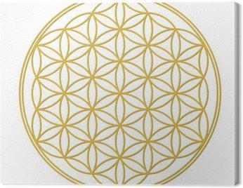 Canvas Print Blume des Lebens Gold mit Schatten