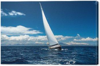 Canvas Print Boat in sailing regatta.