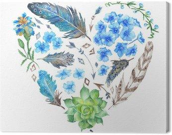 Canvas Print Boho Style Watercolor Heart Shape
