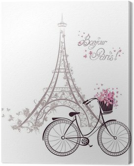 Canvas Print Bonjour Paris text with Eiffel Tower and bicycle