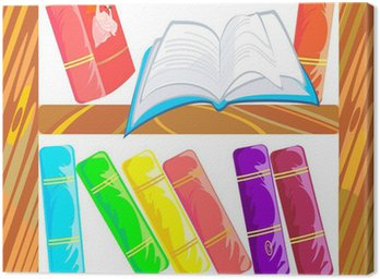 Canvas Print Bookcase with open book
