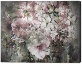 Canvas Print Bouquet of multicolored flowers watercolor painting on full color background