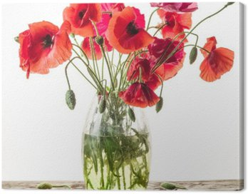 Canvas Print Bouquet of poppy flowers in the vase on the wooden table.