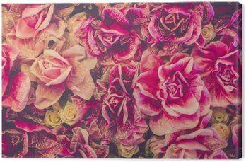 Canvas Print Bouquet of roses background. Retro filter