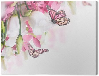 Canvas Print Bouquet of white and pink roses, butterfly. Floral background.