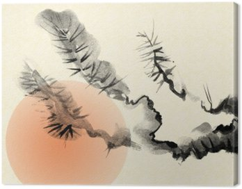 Canvas Print Branches of an old Pine tree, drawn in the style of sumi-e.