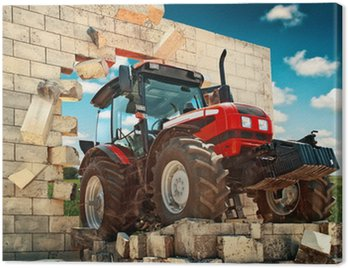 Canvas Print Brand new Tractor breaking through the wall