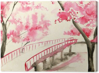 Canvas Print Bridge among cherry blossoms, Chinese-style landscape