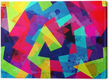 Canvas Print bright geometric seamless pattern with grunge effect