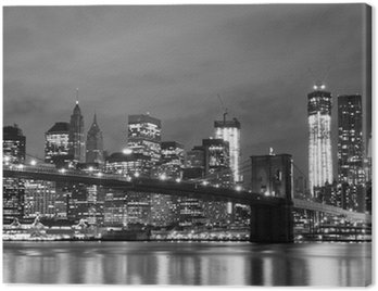 Canvas Print Brooklyn Bridge and Manhattan Skyline At Night, New York City