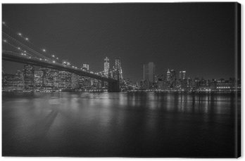Canvas Print Brooklyn Bridge at night, New York